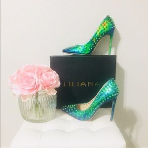 💥New Liliana Hologram Green Pointy Toe Heels